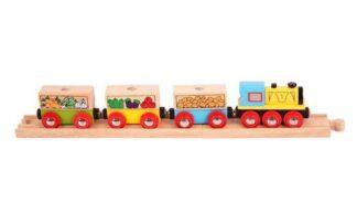 Bigjigs Rail Nákladní vlak se zeleninou + 3 koleje