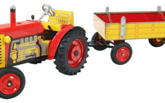 Traktor ZETOR svalníkem - červený - kovové disky kol