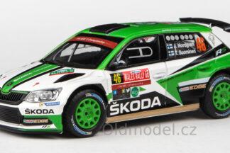 Model autíčka Škoda Fabia III R5 (2015) 1:43 - Dayinsure Wales Rally GB 2017 #46 Nordgren - Suominen