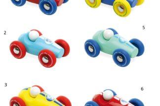 Vilac Dřevěné závodní mini auto 1 ks červené s modrými koly Vilac Dřevěné závodní mini auto 1 ks červené s modrými koly